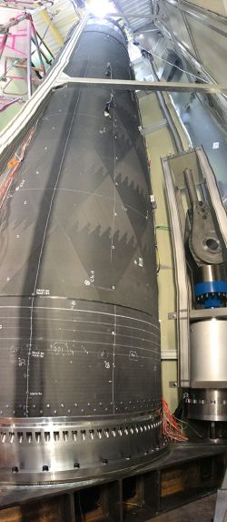 CFK booster during test preparations in the testing pit at MT Aerospace AG