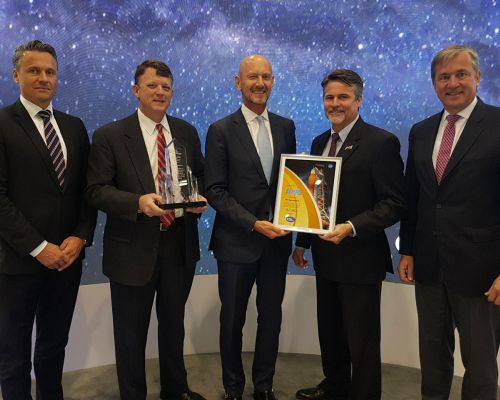 Dr Michael Haidinger (President Boeing Germany), Marc Mulqueen (Boeing), Hans J. Steininger (CEO MT Aerospace), Steve Creech (NASA) and Markus Staudt (MT Aerospace)